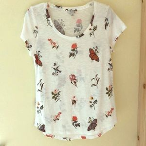 Lucky Brand Floral and Butterflies Burnout Tee